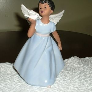 Porcelain African American Angel with Dove  8""